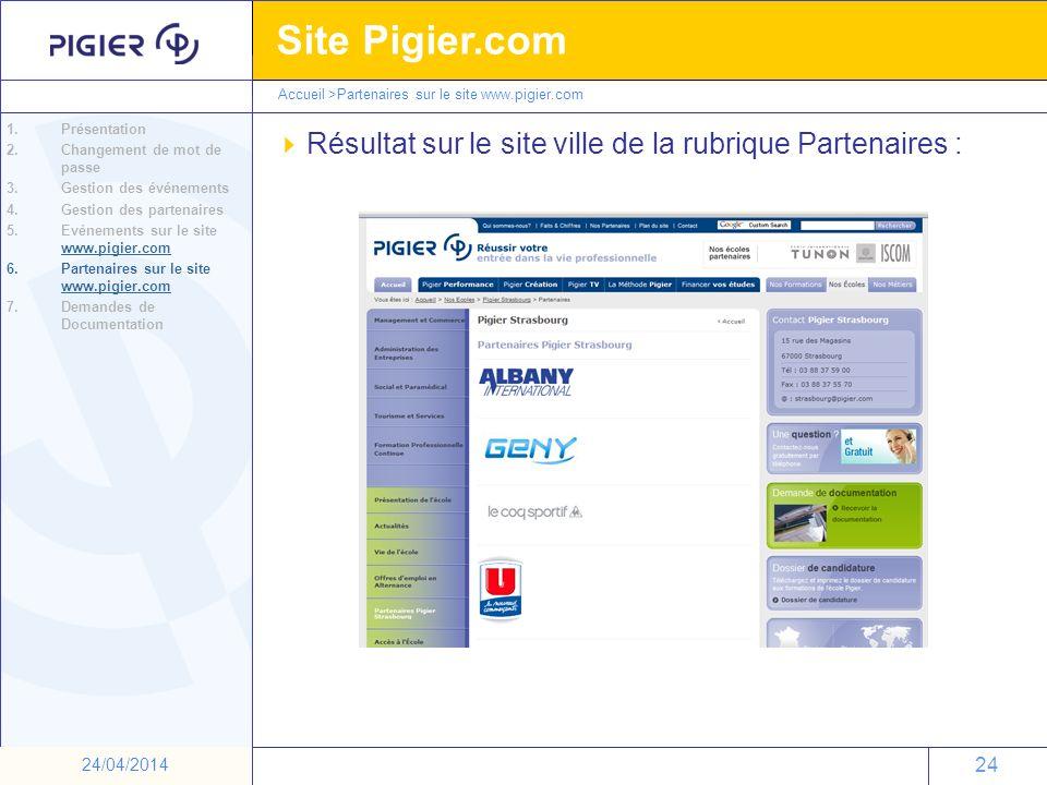24 Site Pigier.com 24 24/04/2014 Accueil >Partenaires sur le site www.pigier.com Résultat sur le site ville de la rubrique Partenaires : 1.Présentatio