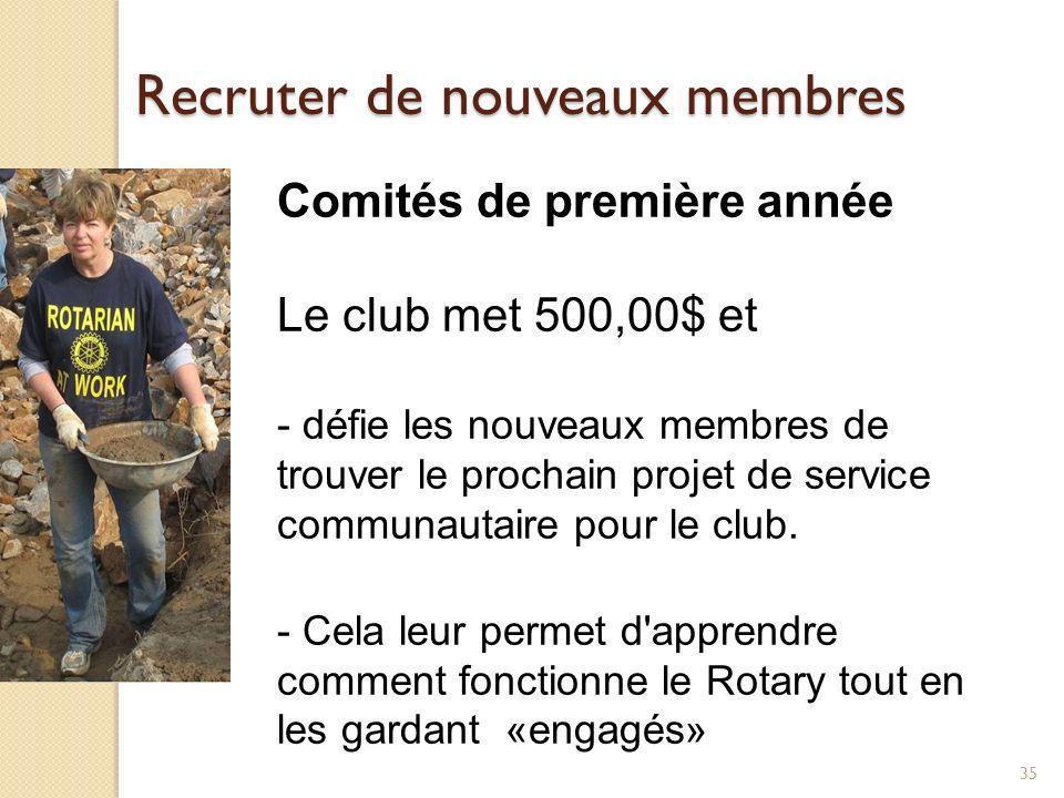 36 Stimuler l engagement des nouveaux membres Formation en leadership - Les nouveaux membres devraient être informés à propos de l Institut Rotarien de leadership et encouragés à y aller par leur club; celui-ci devrait financer leur séminaire.