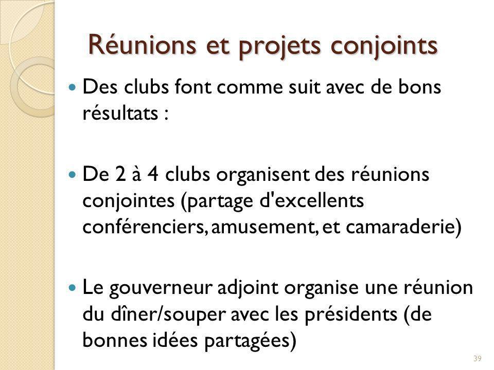 Réunions et projets conjoints Des clubs travaillent ensemble sur la même action Projet ou collecte de fonds conjoint Interact/Rotaract Des clubs se joignent à d autres organisations pour des projets communs (relations publiques et membres potentiels) 40