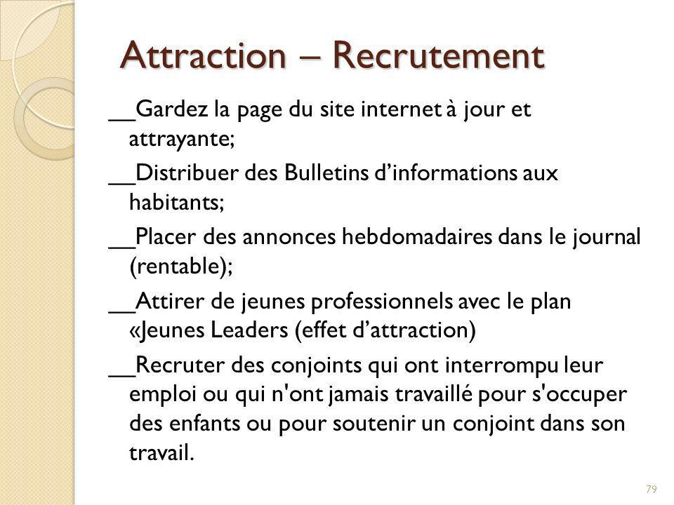 Attraction – Recrutement Attraction – Recrutement __Gardez la page du site internet à jour et attrayante; __Distribuer des Bulletins dinformations aux