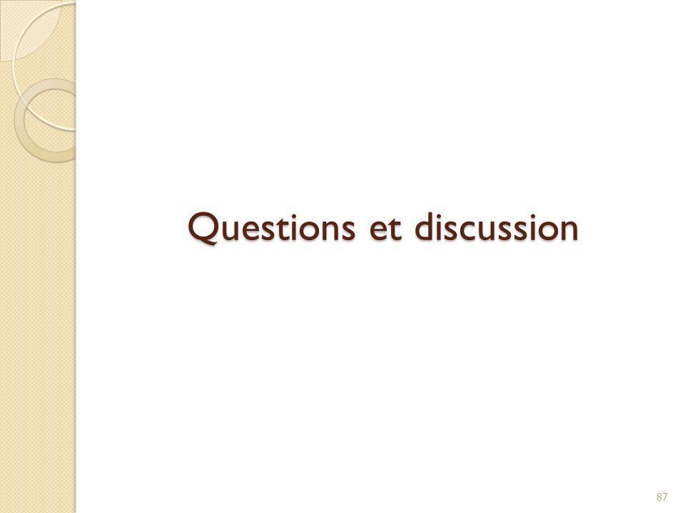 Questions et discussion 87