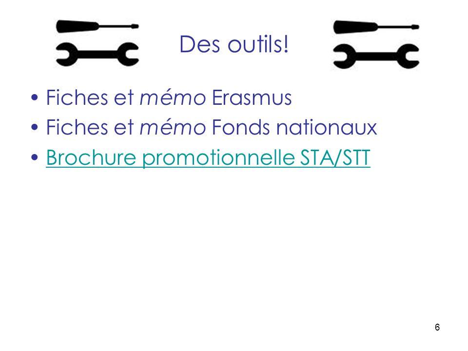6 Des outils! Fiches et mémo Erasmus Fiches et mémo Fonds nationaux Brochure promotionnelle STA/STT