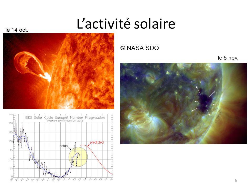 Lactivité solaire 6 © NASA SDO le 14 oct. le 5 nov.