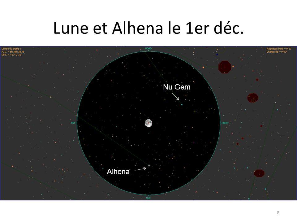 Lune et Alhena le 1er déc. 8 Alhena Nu Gem