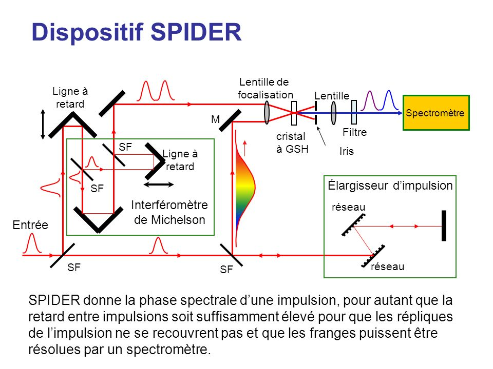 Dispositif SPIDER Spectromètre cristal à GSH Filtre Lentille de focalisation Lentille Ligne à retard Ligne à retard réseau SF M Interféromètre de Michelson Élargisseur dimpulsion Entrée Iris SPIDER donne la phase spectrale dune impulsion, pour autant que la retard entre impulsions soit suffisamment élevé pour que les répliques de limpulsion ne se recouvrent pas et que les franges puissent être résolues par un spectromètre.