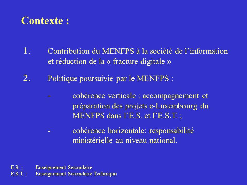 Contexte : 1. Contribution du MENFPS à la société de linformation et réduction de la « fracture digitale » 2. Politique poursuivie par le MENFPS : - c