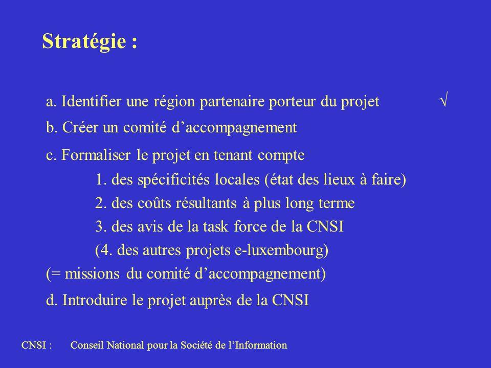 Stratégie : a. Identifier une région partenaire porteur du projet b. Créer un comité daccompagnement c. Formaliser le projet en tenant compte 1. des s