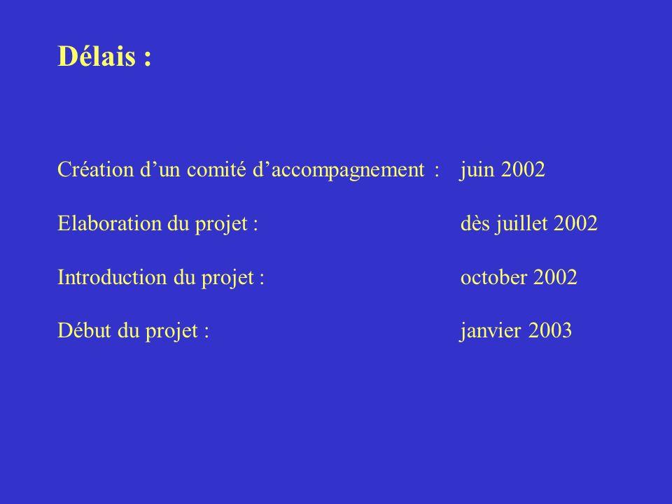 Délais : Création dun comité daccompagnement : juin 2002 Elaboration du projet : dès juillet 2002 Introduction du projet :october 2002 Début du projet