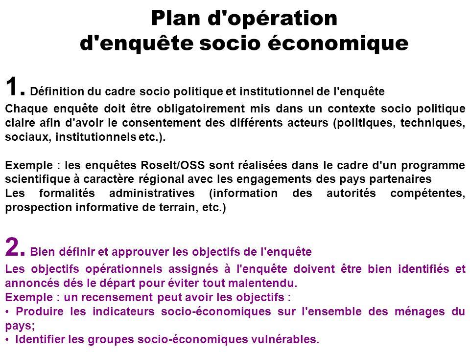 Plan d'opération d'enquête socio économique 1. Définition du cadre socio politique et institutionnel de l'enquête Chaque enquête doit être obligatoire