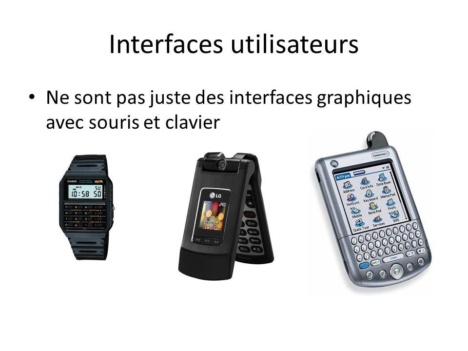 Interfaces utilisateurs Ne sont pas juste des interfaces graphiques avec souris et clavier