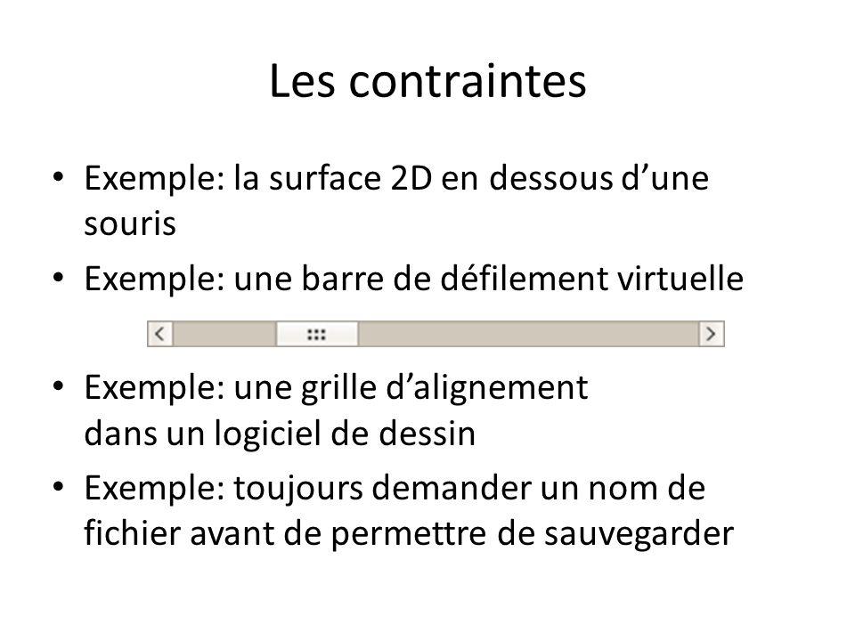 Les contraintes Exemple: la surface 2D en dessous dune souris Exemple: une barre de défilement virtuelle Exemple: une grille dalignement dans un logiciel de dessin Exemple: toujours demander un nom de fichier avant de permettre de sauvegarder