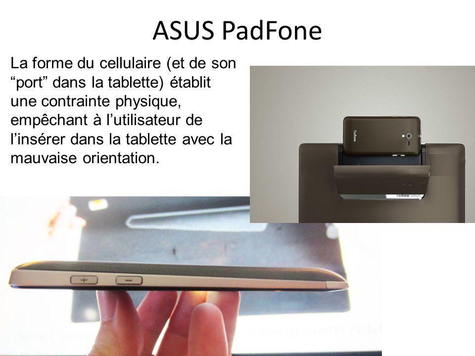 La forme du cellulaire (et de son port dans la tablette) établit une contrainte physique, empêchant à lutilisateur de linsérer dans la tablette avec la mauvaise orientation.