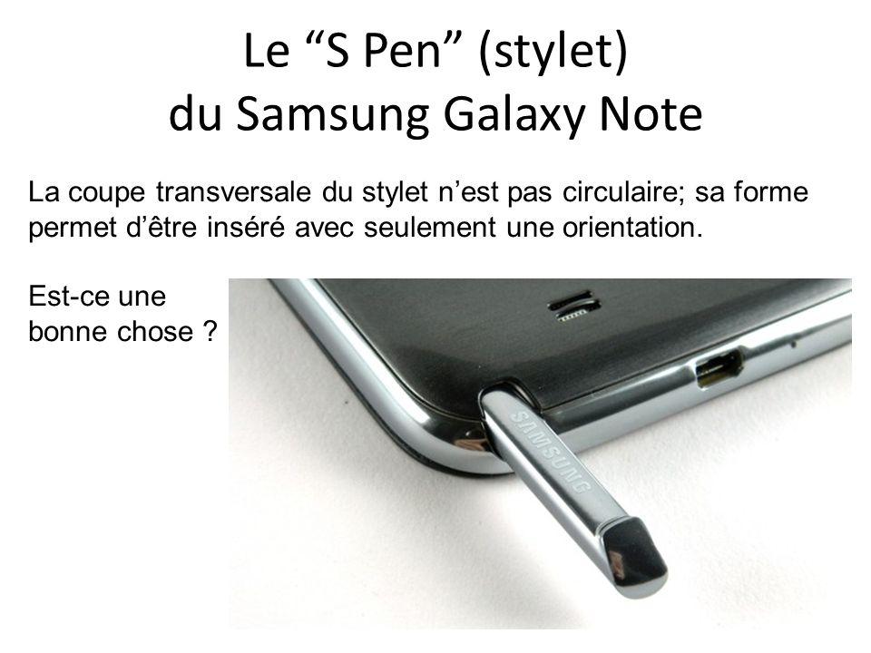 Le S Pen (stylet) du Samsung Galaxy Note La coupe transversale du stylet nest pas circulaire; sa forme permet dêtre inséré avec seulement une orientat