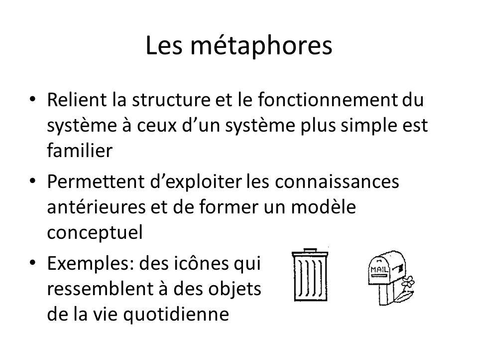 Les métaphores Relient la structure et le fonctionnement du système à ceux dun système plus simple est familier Permettent dexploiter les connaissances antérieures et de former un modèle conceptuel Exemples: des icônes qui ressemblent à des objets de la vie quotidienne