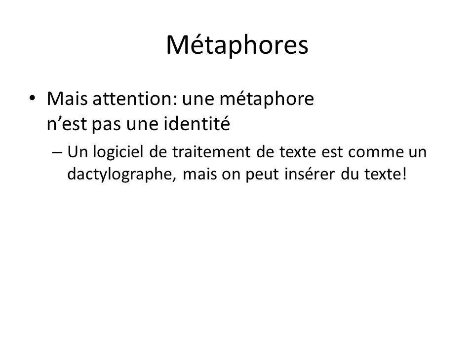 Métaphores Mais attention: une métaphore nest pas une identité – Un logiciel de traitement de texte est comme un dactylographe, mais on peut insérer du texte!