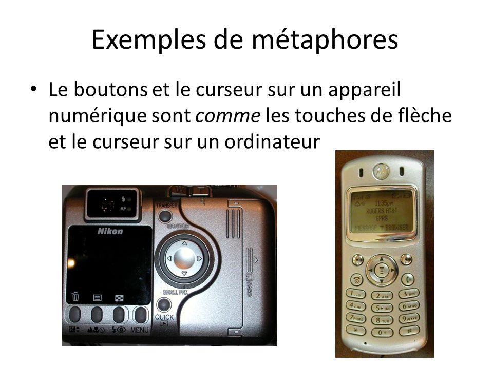Exemples de métaphores Le boutons et le curseur sur un appareil numérique sont comme les touches de flèche et le curseur sur un ordinateur
