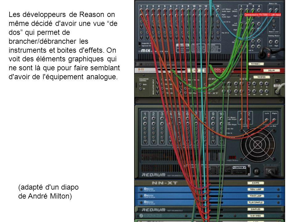 Les développeurs de Reason on même décidé d'avoir une vue de dos qui permet de brancher/débrancher les instruments et boites d'effets. On voit des élé