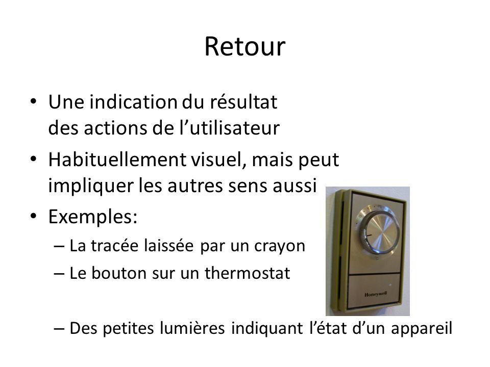 Retour Une indication du résultat des actions de lutilisateur Habituellement visuel, mais peut impliquer les autres sens aussi Exemples: – La tracée laissée par un crayon – Le bouton sur un thermostat – Des petites lumières indiquant létat dun appareil