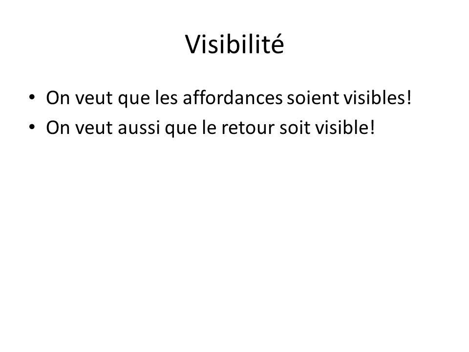 Visibilité On veut que les affordances soient visibles! On veut aussi que le retour soit visible!