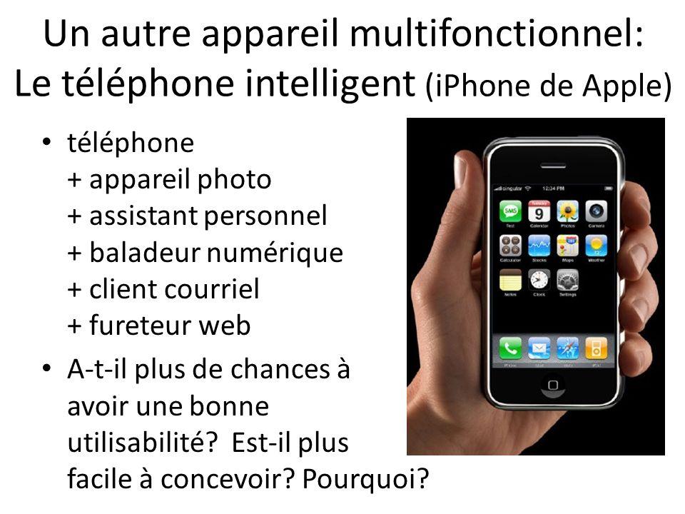Un autre appareil multifonctionnel: Le téléphone intelligent (iPhone de Apple) téléphone + appareil photo + assistant personnel + baladeur numérique + client courriel + fureteur web A-t-il plus de chances à avoir une bonne utilisabilité.