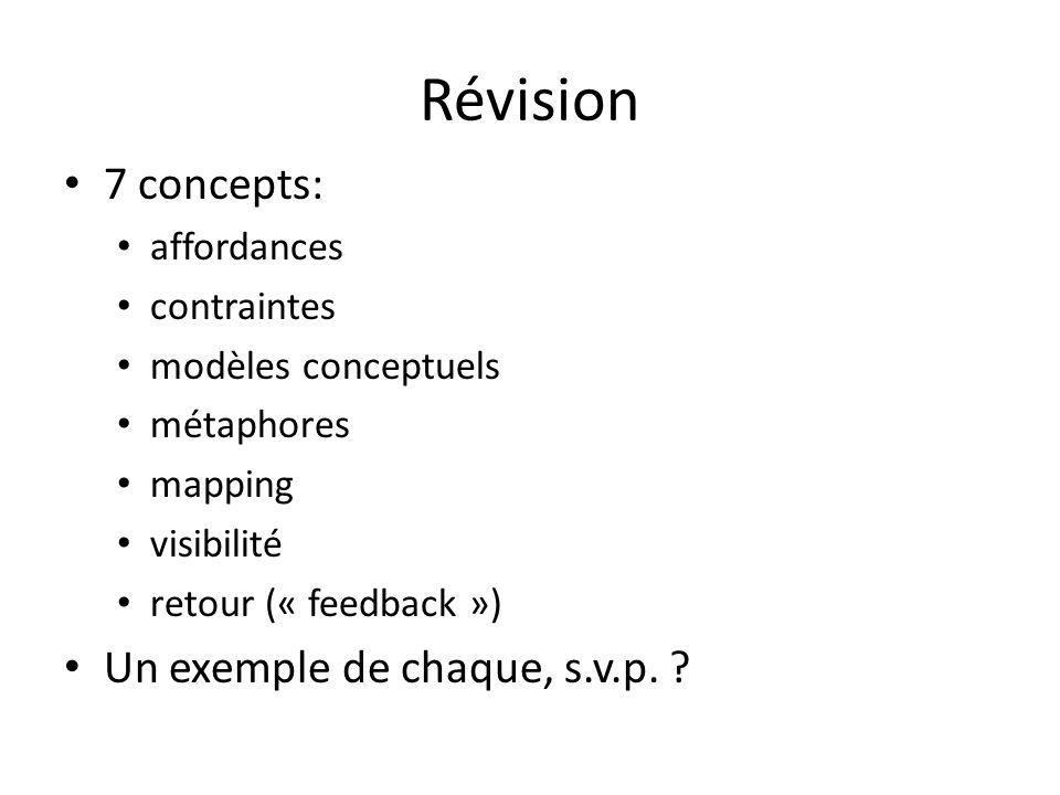 Révision 7 concepts: affordances contraintes modèles conceptuels métaphores mapping visibilité retour (« feedback ») Un exemple de chaque, s.v.p.