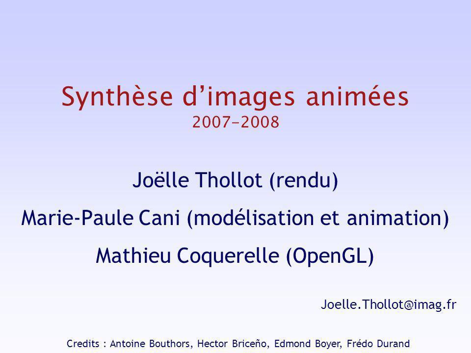 Synthèse dimages animées 2007-2008 Joëlle Thollot (rendu) Marie-Paule Cani (modélisation et animation) Mathieu Coquerelle (OpenGL) Joelle.Thollot@imag