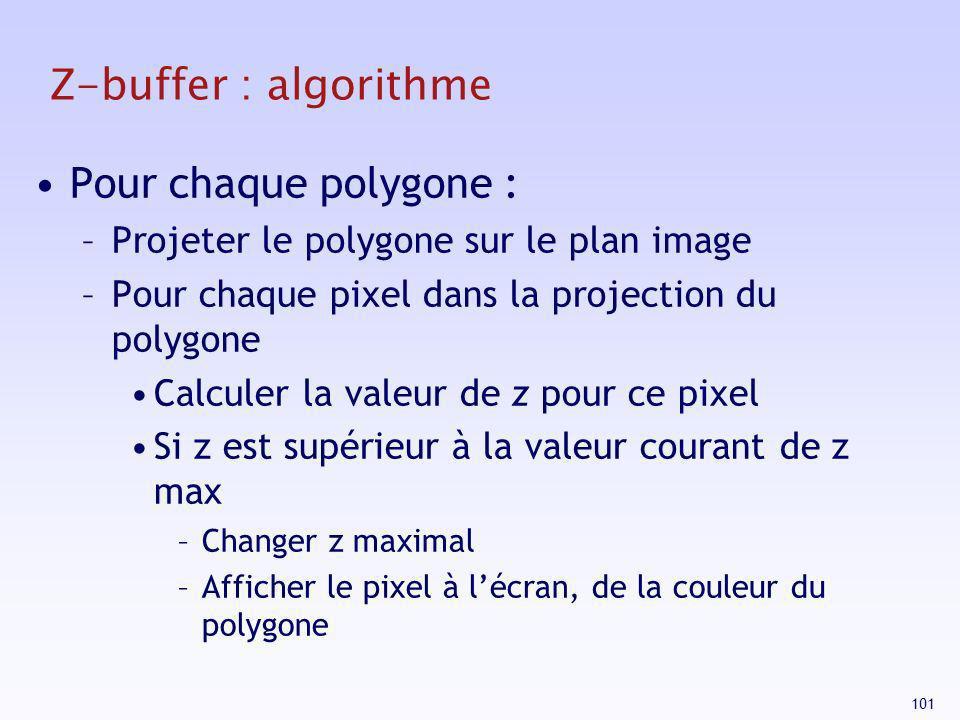 101 Z-buffer : algorithme Pour chaque polygone : –Projeter le polygone sur le plan image –Pour chaque pixel dans la projection du polygone Calculer la