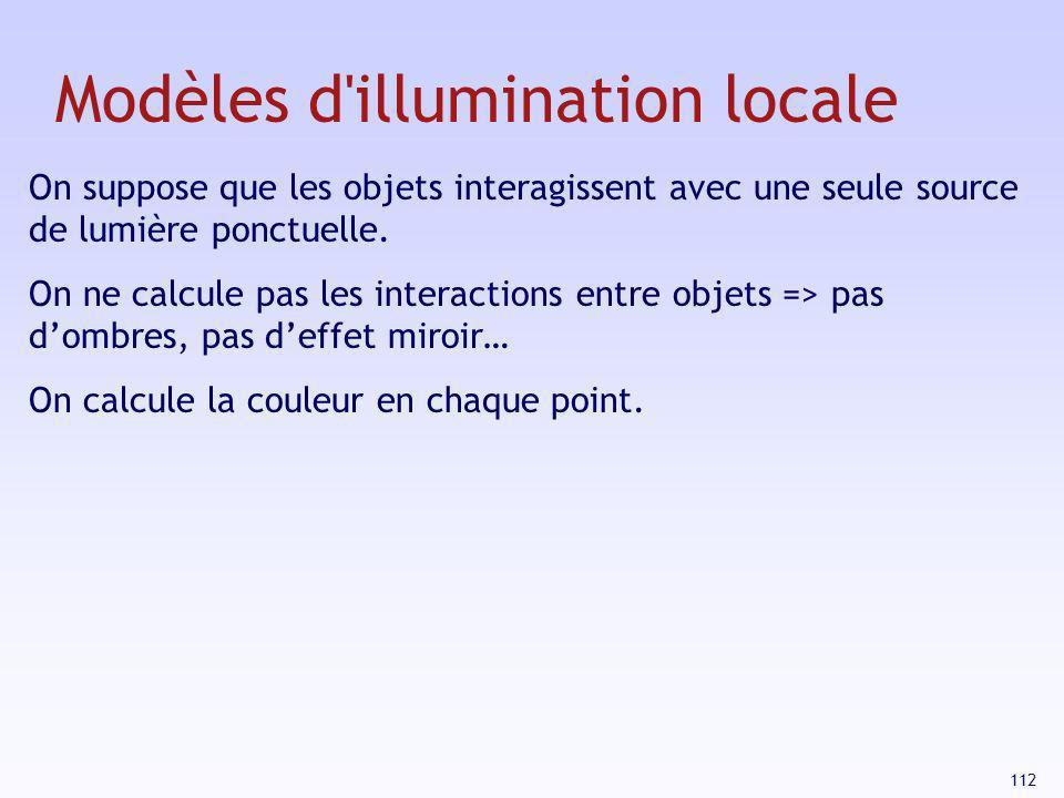 112 Modèles d'illumination locale On suppose que les objets interagissent avec une seule source de lumière ponctuelle. On ne calcule pas les interacti