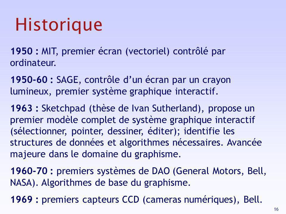 16 1950 : MIT, premier écran (vectoriel) contrôlé par ordinateur. 1950-60 : SAGE, contrôle dun écran par un crayon lumineux, premier système graphique