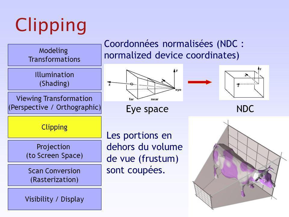 29 Clipping Coordonnées normalisées (NDC : normalized device coordinates) Eye spaceNDC Les portions en dehors du volume de vue (frustum) sont coupées.