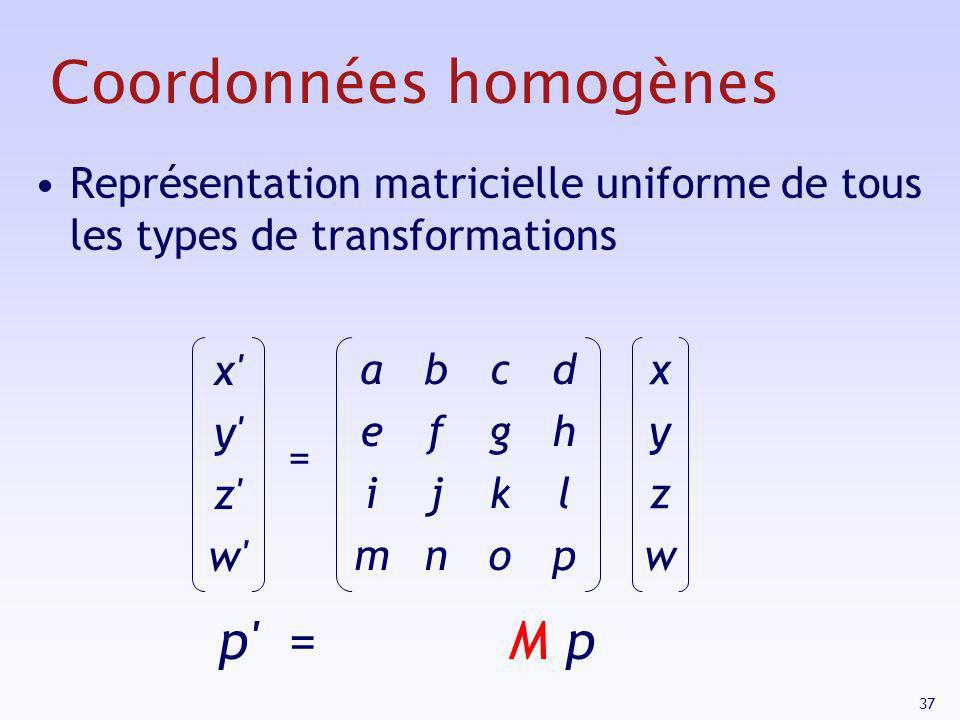 37 Coordonnées homogènes Représentation matricielle uniforme de tous les types de transformations x' y' z' w' = xyzwxyzw aeimaeim bfjnbfjn cgkocgko dh