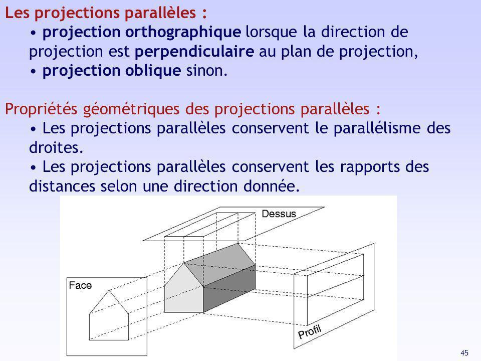 45 Les projections parallèles : projection orthographique lorsque la direction de projection est perpendiculaire au plan de projection, projection obl