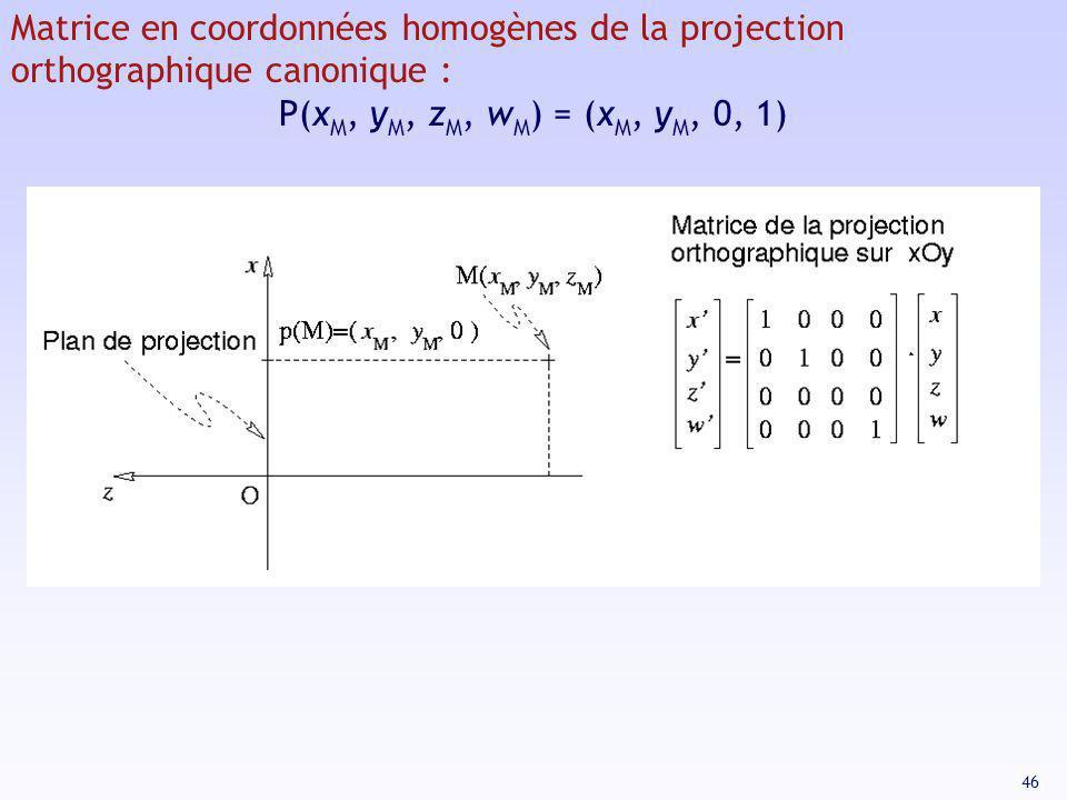 46 Matrice en coordonnées homogènes de la projection orthographique canonique : P(x M, y M, z M, w M ) = (x M, y M, 0, 1)