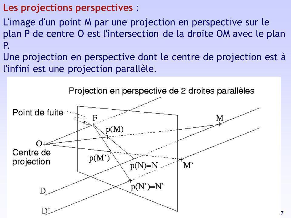 47 Les projections perspectives : L'image d'un point M par une projection en perspective sur le plan P de centre O est l'intersection de la droite OM