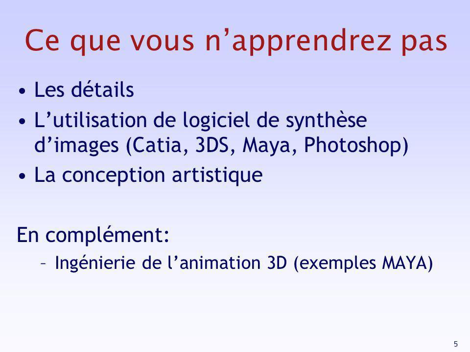 5 Ce que vous napprendrez pas Les détails Lutilisation de logiciel de synthèse dimages (Catia, 3DS, Maya, Photoshop) La conception artistique En compl