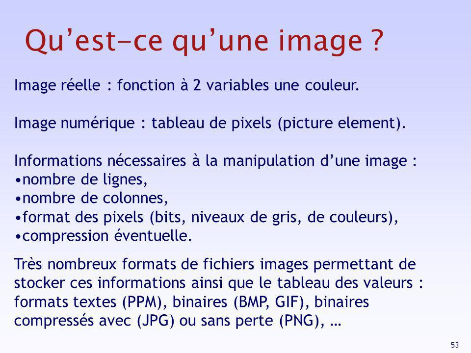 53 Quest-ce quune image ? Image réelle : fonction à 2 variables une couleur. Image numérique : tableau de pixels (picture element). Informations néces