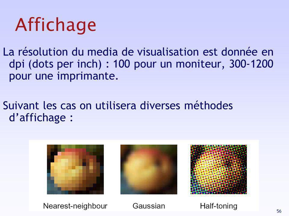 56 La résolution du media de visualisation est donnée en dpi (dots per inch) : 100 pour un moniteur, 300-1200 pour une imprimante. Suivant les cas on