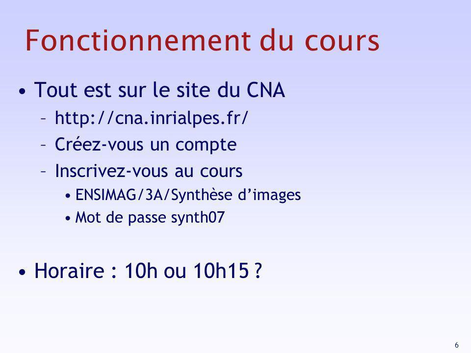 6 Fonctionnement du cours Tout est sur le site du CNA –http://cna.inrialpes.fr/ –Créez-vous un compte –Inscrivez-vous au cours ENSIMAG/3A/Synthèse dim