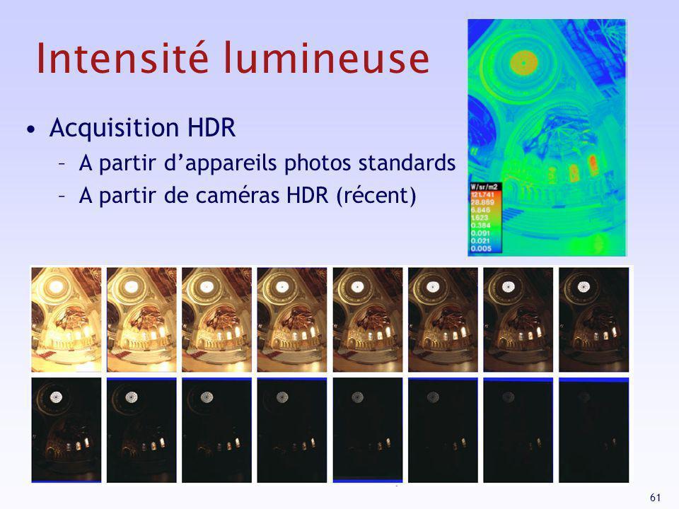 61 Intensité lumineuse Acquisition HDR –A partir dappareils photos standards –A partir de caméras HDR (récent)