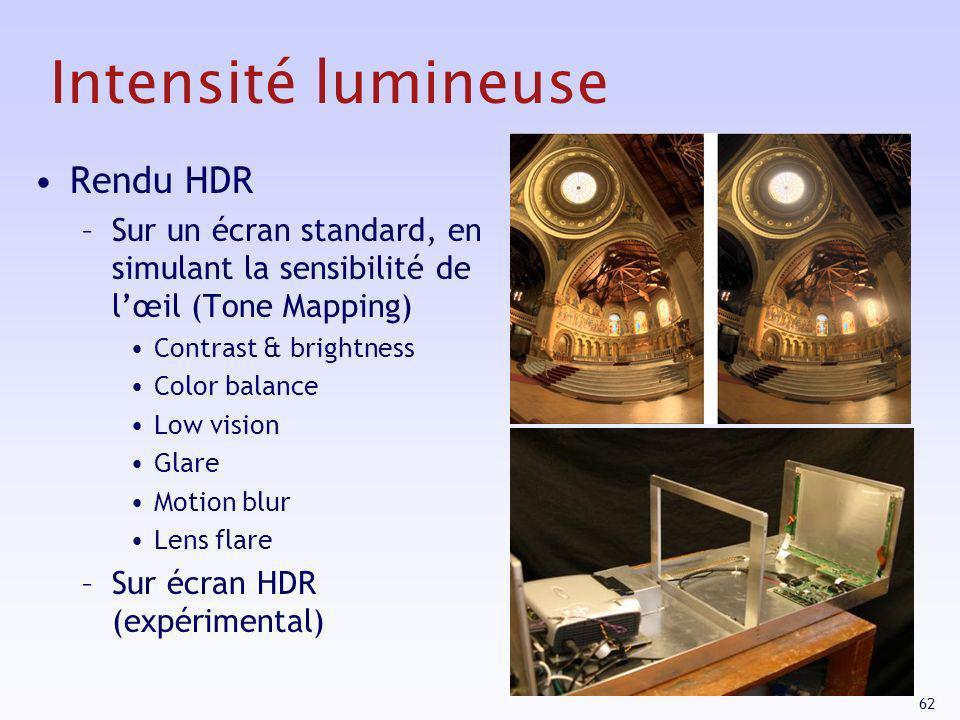 62 Intensité lumineuse Rendu HDR –Sur un écran standard, en simulant la sensibilité de lœil (Tone Mapping) Contrast & brightness Color balance Low vis