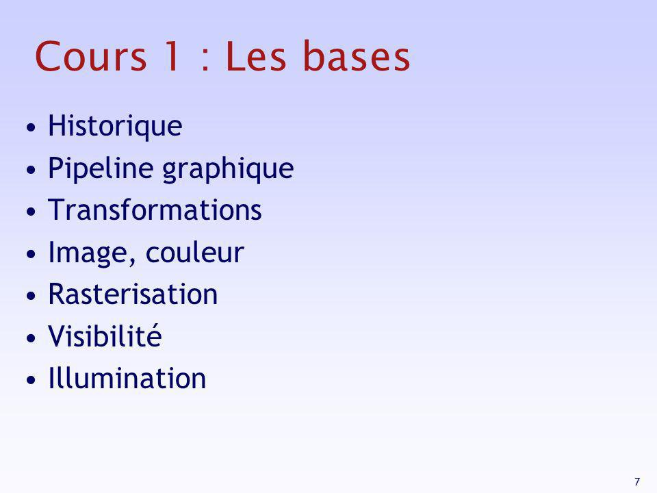 7 Cours 1 : Les bases Historique Pipeline graphique Transformations Image, couleur Rasterisation Visibilité Illumination