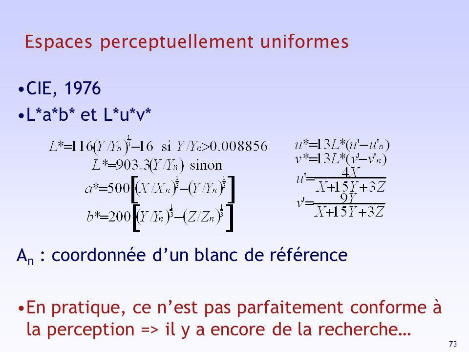 73 Espaces perceptuellement uniformes CIE, 1976 L*a*b* et L*u*v* A n : coordonnée dun blanc de référence En pratique, ce nest pas parfaitement conform