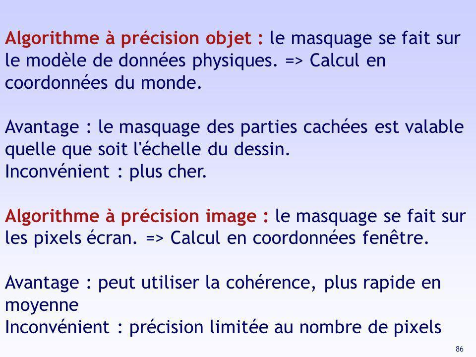 86 Algorithme à précision objet : le masquage se fait sur le modèle de données physiques. => Calcul en coordonnées du monde. Avantage : le masquage de