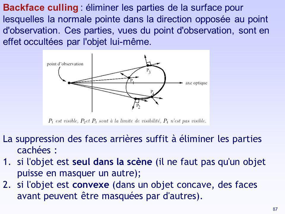 87 Backface culling : éliminer les parties de la surface pour lesquelles la normale pointe dans la direction opposée au point d'observation. Ces parti