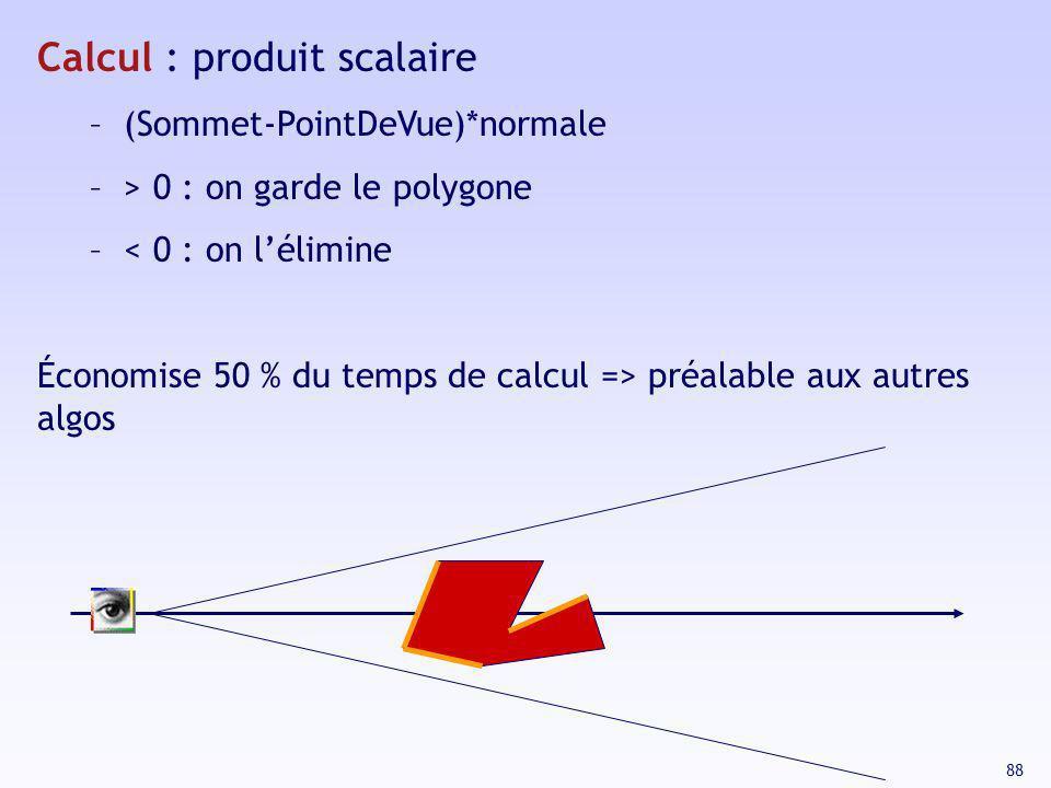 88 Calcul : produit scalaire – (Sommet-PointDeVue)*normale – > 0 : on garde le polygone – < 0 : on lélimine Économise 50 % du temps de calcul => préal