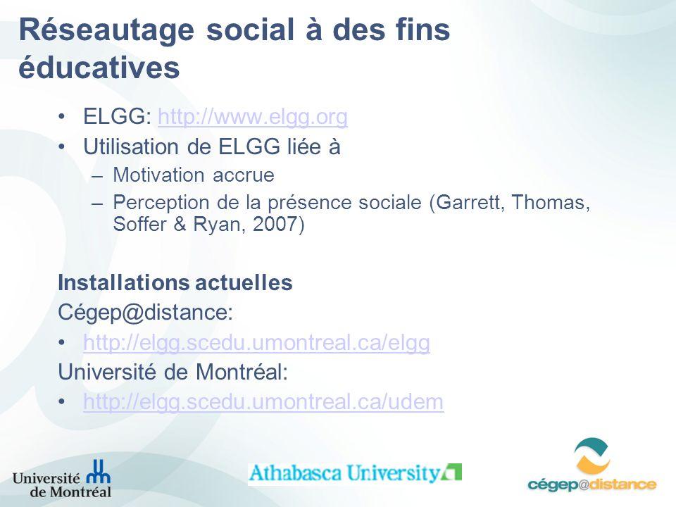 Réseautage social à des fins éducatives ELGG: http://www.elgg.orghttp://www.elgg.org Utilisation de ELGG liée à –Motivation accrue –Perception de la présence sociale (Garrett, Thomas, Soffer & Ryan, 2007) Installations actuelles Cégep@distance: http://elgg.scedu.umontreal.ca/elgg Université de Montréal: http://elgg.scedu.umontreal.ca/udem