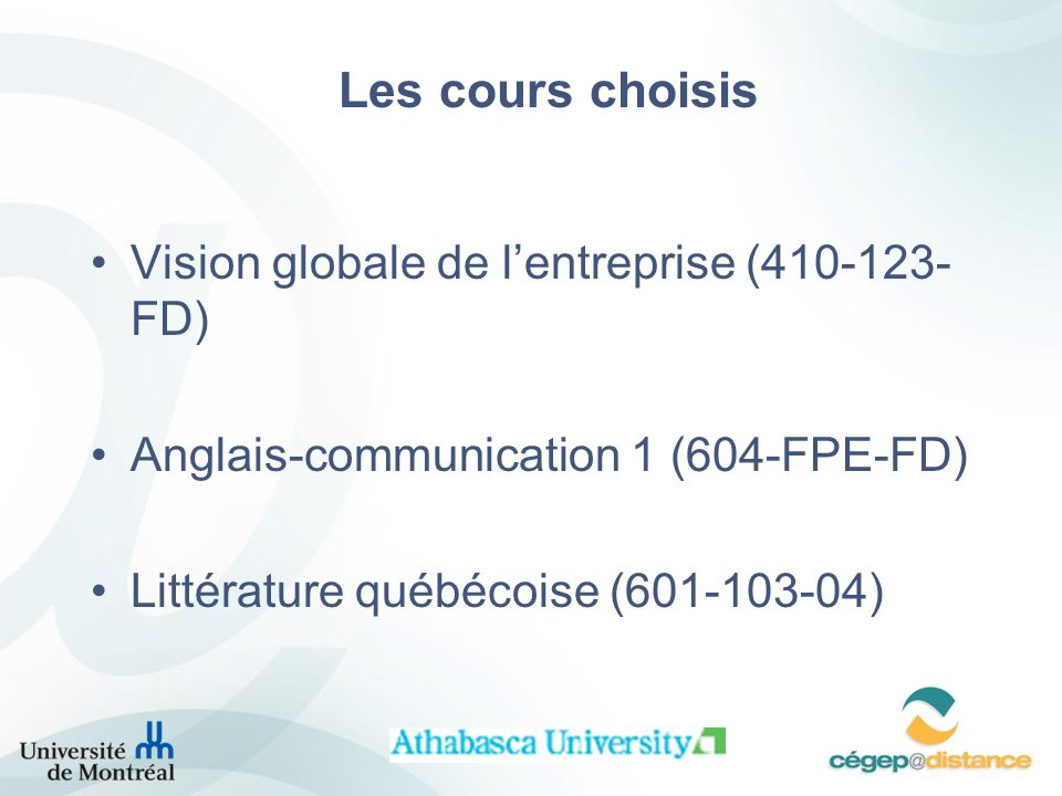 Les cours choisis Vision globale de lentreprise (410-123- FD) Anglais-communication 1 (604-FPE-FD) Littérature québécoise (601-103-04)