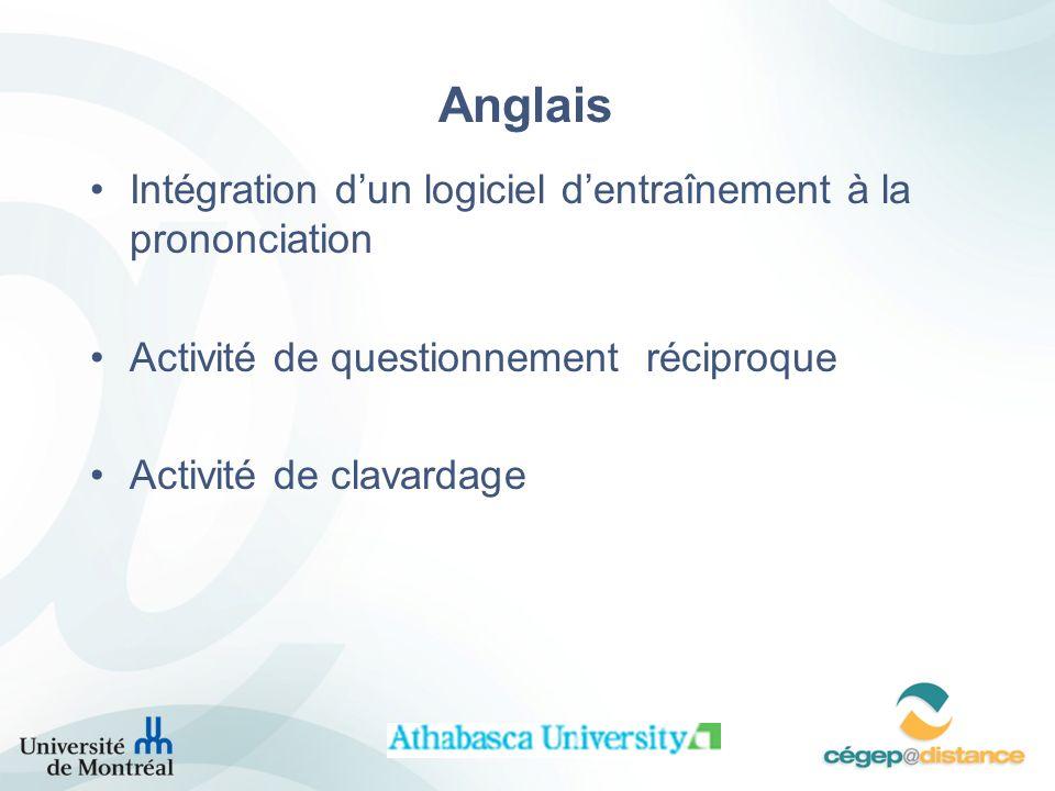Anglais Intégration dun logiciel dentraînement à la prononciation Activité de questionnement réciproque Activité de clavardage