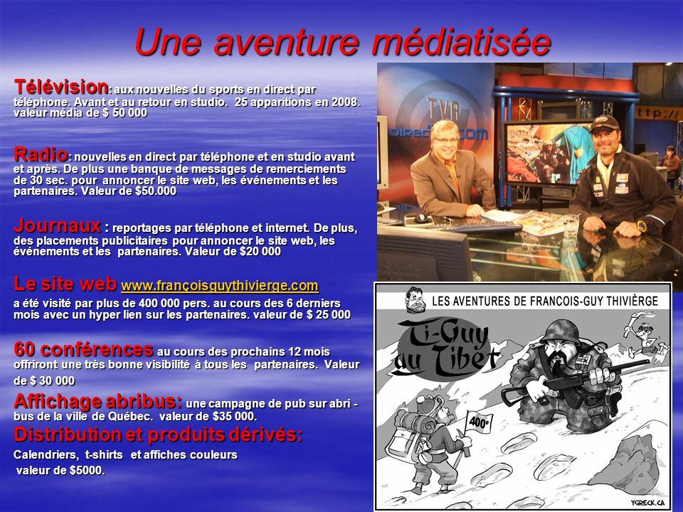 Une aventure médiatisée Télévision : aux nouvelles du sports en direct par téléphone. Avant et au retour en studio. 25 apparitions en 2008. valeur méd