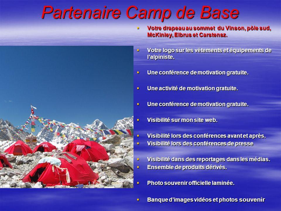 Partenaire Camp de Base Votre drapeau au sommet du Vinson, pôle sud, McKinley, Elbrus et Carstensz. Votre drapeau au sommet du Vinson, pôle sud, McKin